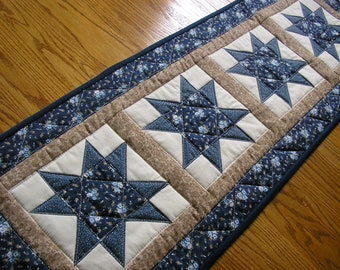 Quilted Table Runner, Quilted Star Runner, Blue Star  Runner, 14  x 40 1/2 inches