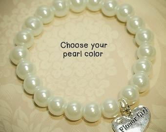 Flower Girl Bracelet -AP- Pearl Bracelet, Flower Girl Heart Charm, Choose the Pearl Color, Flower Girl Gift, Gifts for Flower Girls