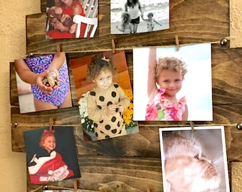 """22""""x21"""" Pallet Picture Display, Stained, Solid Wood, Jute Rope and Clothes Pins, Rustic Decor, Photo Picture Frame"""