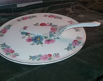 shabby chic cake plate, cake plate, vintage cake plate, cake plate with cake server, shabby chic decor