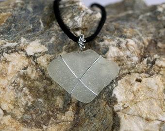 Handmade Cornish Sea Glass Wire Wrapped Pendant Medium Necklace Organic Jewellery Eco Fashion Sustainable Reclaimed Boho Wedding Accessories