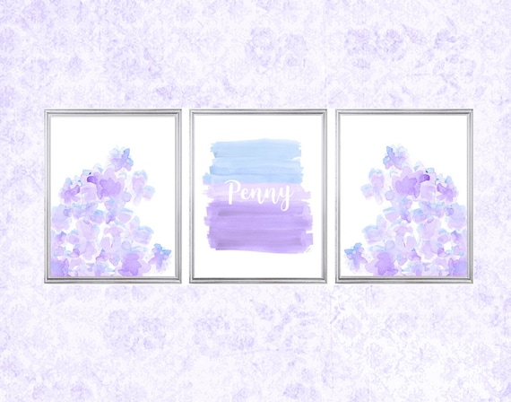 Lavender and Blue Girls Prints, 11x14 Set of 3 Watercolors