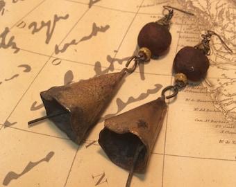 Primitive Rustic Repurposed Brass Earrings