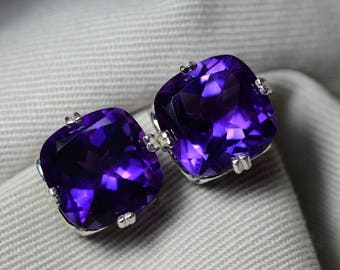 Amethyst Earrings, Certified 11.77 Carat Amethyst Stud Earrings Appraised at 600.00 Sterling Silver, Purple, February Birthstone