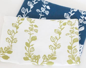 Cotton cosmetic bag | Poppy garland pattern in white+blue and green+white | screen-printed