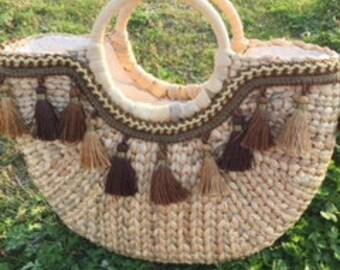 Water Hyacinth Straw Handwoven Cute Summer Fashionable Purse