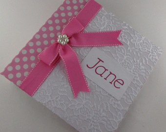 Baby Book Girl Photo Album Personalized baby Memory book scrapbook keepsake book pregnancy journal Pink White Lace 4x6 5x7 8x10 Pictures