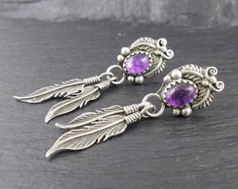 Sterling Silver Purple Feather Earrings | Vintage Womens Earrings