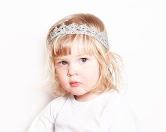 Silver Crown Headband, Baby Tiara, Toddler Crown Headband, Birthday Crown, Flower Girl Crown, Baby Photo Prop Crown, Silver Wedding Crown