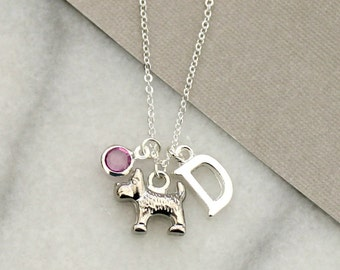 Dog Charm Necklace with initial and birthstone, personalised scottie dog necklace, custom pet dog  pendant, dog and initial charm necklace