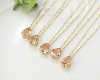 Bridesmaid gifts - Set of 4,5,6 -champagne necklace, peach necklace, Gorgeous Drop,stone in bezel,raindrop Necklace,