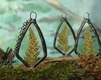 fern necklace, real plant jewelry, glass flower necklace, fern pendant, gift sister, woodland pendant, Gardening gift, nature gift womens