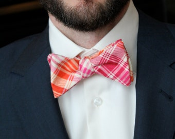 Men's Bow Tie in Tartain Pink and Orange Plaid - Self tying - freestyle - Groomsmen attire