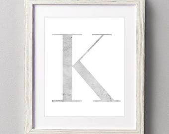 Letter K | Nursery Print | Nursery Art | Alphabet | Instant Download | Digital Print | Wall Art | Gray | Initials | Grey | Gender Neutral