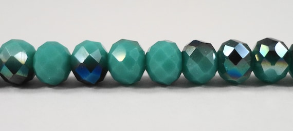 "Rondelle Crystal Beads 6x4mm Opaque Turquoise Blue-Green AB Rondelle Beads, Chinese Crystal Glass Beads on a 9 1/2"" Strand with 50 Beads"