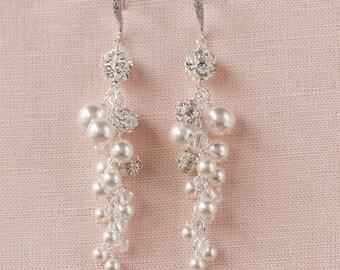 Long Pearl Bridal earrings, Swarovski crystal Earrings, Cluster Drop Earrings, Wedding Earrings, Lindsey Earrings