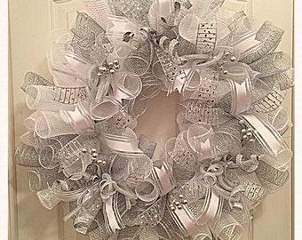 Silver White Wedding Deco Mesh Wreath/ Wedding Wreath/Silver Wreath/White Wreath/Wedding Deco Mesh Wreath