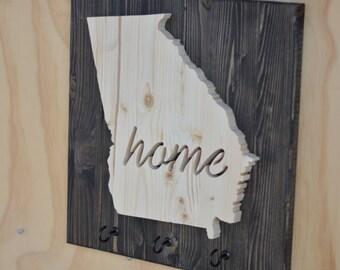 """Georgia State Key Hook Wood Plaque Cutout """"Home"""""""