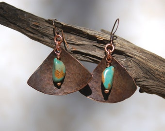 Oxidized Hand Forged Copper Triangle Earrings with Turquoise Drops.....no. 476