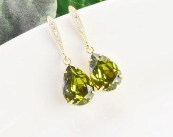 Olive Green Earrings - Swarovski Earrings - Bridesmaid Earrings - Crystal Drop Earrings Gold - Bridesmaid Jewelry - Teardrop Earrings