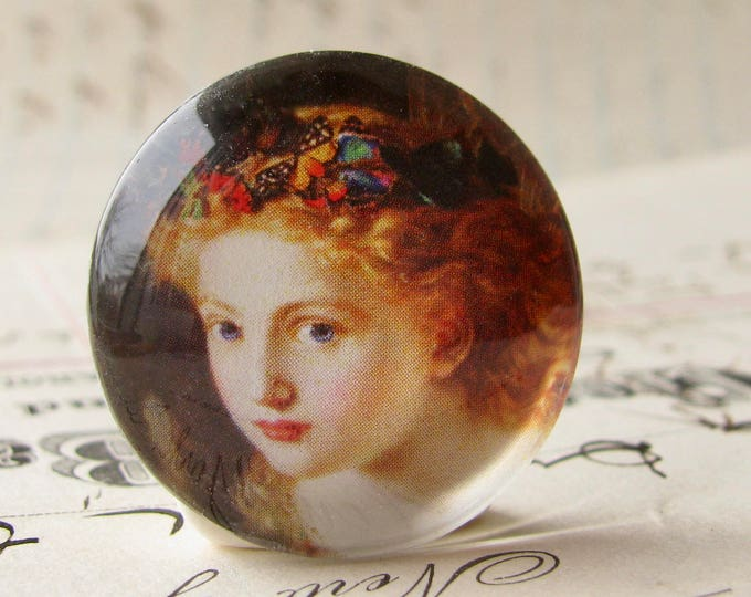 Butterflies in her hair, handmade glass oval cabochon, 25mm round, artisan crafted in this shop, Magical Maidens collection, photo glass