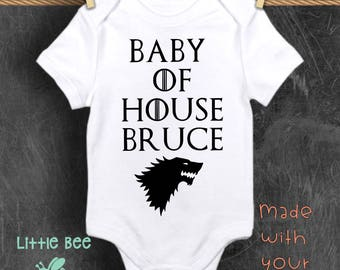 Baby of House, Customized, Game of thrones, Baby boy, Baby Onesie, GOT, New Baby, Baby shower gift, Funny baby onesie, Pregnancy gifts, Geek
