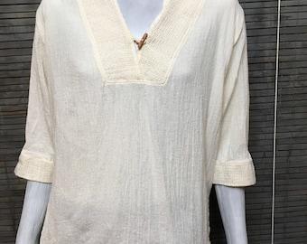 Boho blouse La Rueca Off White Cotton Gauze 3/4 Sleeves V Neck Boho Vintage Top Sz XXL