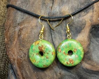 Funky Green Donut Earrings