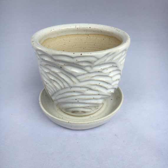 Small Carved White Planter