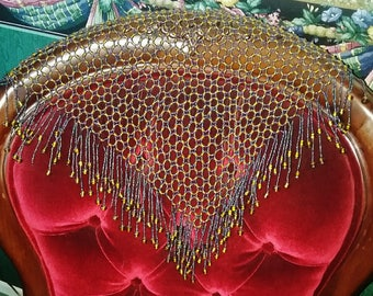 Victorian Edwardian FULLY Beaded Shawl Scarf Doily Caplet Decoration