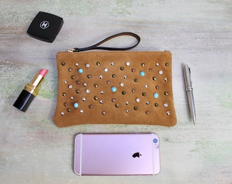 leather clutch,  small studded pochette, Sale clutches, cognac pochette, Gift for her, READY to Shipping bags