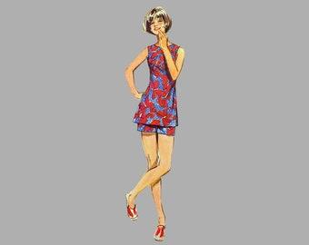 1971 Pants Shorts Tunic pattern Simplicity 9408 Bust 38 Back zipper Side slits Sleeveless Complete