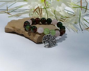 Beaded Bracelet Gemstone Bracelet Agate Quartz and Jade Bracelet Natural Stone Bracelet Yoga Bracelet Mala Bracelet