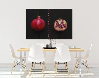 pomegranate v. two // food photography print // kitchen decor // dining room // canvas art // canvas print // rustic farmhouse wall art