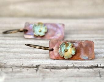 Metalwork Earrings Brass Flower Verdigris Patina Hammered Copper Metal Open Hoop
