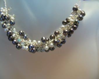 Kimadirose Gray Freshwater Pearls, Swarovski Crystal & White Pearls Cluster Necklace  Signed