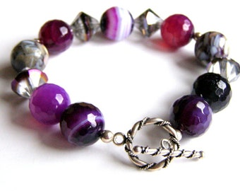 Banded Agate Bracelet, Purple Gemstones, Sterling Silver Toggle Clasp, Boho Jewelry, Chunky Fashion Bracelet, Gift for Special Occasion