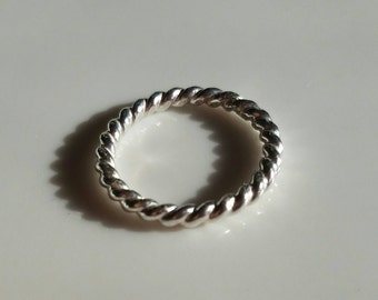 Oxidized sterling silver twisted rope band