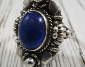 Vintage Lapis Lazuli Sterling Silver Ring Size 7.75 Hand Crafted