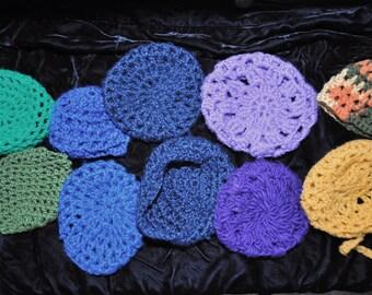 Retro Victorian Womens Crochet Bun Holder Hair Net Snood Chignon Destash Value Bundle Set of Ten Theatrical Costume Shop Supply Variety 70s