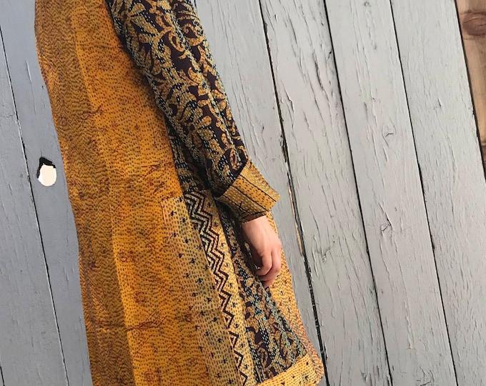 Golden silk reversible kantha duster
