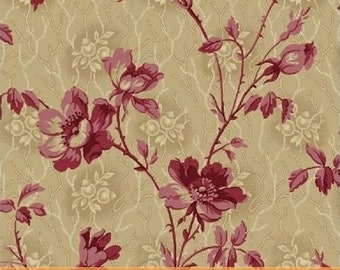 The Blue and the Gray Small  Floral Civil War Reproduction  Tan  By the Yard