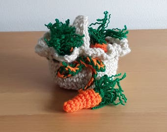 Easter small crocheted basket with carrots