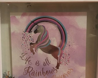 Life is all Rainbows and Unicorns wall hanging