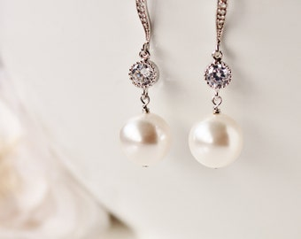 Braut Ohrringe Perle Ohrringe Hochzeit Brautjungfer Ohrringe weiß Elfenbein Swarovski Perle Ohrringe Brautjungfer Geschenk Schmuck