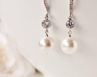 Bridesmaid Jewelry Pearl Earrings Bridesmaid Earrings Pearl Bridal Earrings Swarovski Pearl Drop Earrings Wedding Bridesmaid Gift Ideas