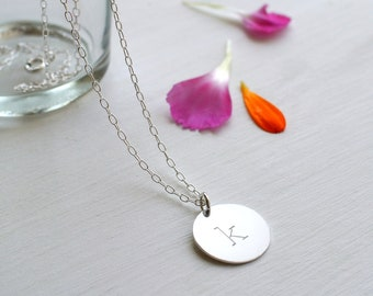 Personalised Sterling Silver Initial Disc Pendant Necklace, Silver Disc Necklace, Silver Initial Disc Necklace, Initial Necklace