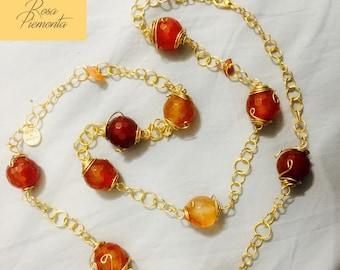 Necklace Swarovski beads Rosa Piemonta