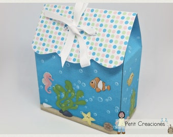 """PRINTABLE TREAT box """"Undersea"""" DIY (digital template) gift idea, placeholders, favor box, gift box for party"""