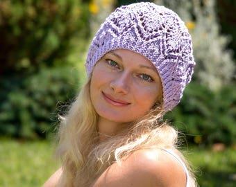 Women hat summer cotton hat women summer hat women lavender hat summer beanie women knit summer hat purple knit hat cotton beanie hat women